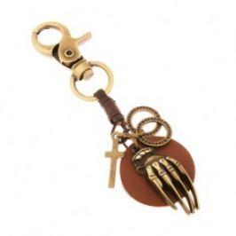 Patinovaná klíčenka v mosazné barvě, kruh z umělé kůže s rukou, kruhy, kříž Z36.10