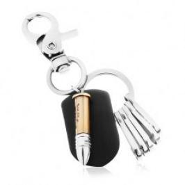 Patinovaný přívěsek na klíče v lesklém šedém provedení, dvoubarevná nábojnice Z36.13