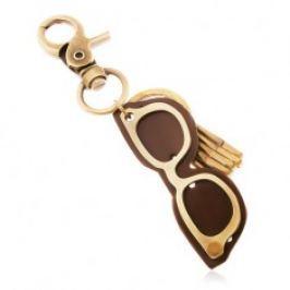 Klíčenka v mosazné barvě s patinovaným povrchem, brýle z kůže a kovu Z39.3