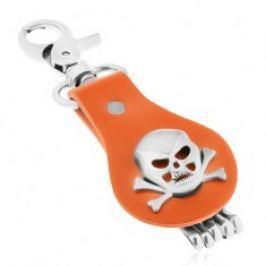 Přívěsek na klíče z oceli a hnědé kůže, lebka s překříženými kostmi Y30.17