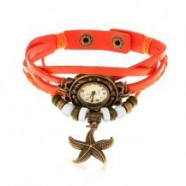 Analogové hodinky, ozdobně vyřezávané, zapletený řemínek oranžové barvy Z10.04