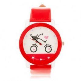 Červenobílé náramkové hodinky, velký ciferník s obrázkem bicyklu Z19.15