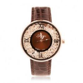Náramkové hodinky - lesklý tmavohnědý řemínek, kulaté čiré zirkonky Z20.15