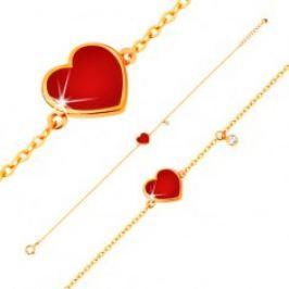 Zlatý 14K náramek - červené glazované srdce a čirý zirkonek, tenký řetízek, 180 mm GG136.11