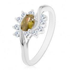 Prsten stříbrné barvy, olivově zelený zirkonový ovál, čiré obloučky AC22.07