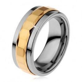 Prsten z wolframu, stříbrná a zlatá barva, otáčivý středový pás se čtverci, 8 mm H8.01