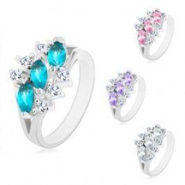 Lesklý prsten ve stříbrném odstínu, tři zirkonová zrnka, čiré zirkonky AB26.30