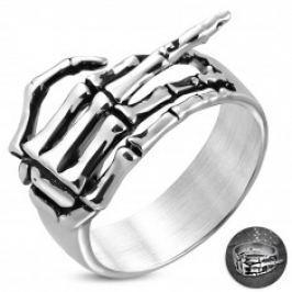 Prsten z chirurgické oceli - kostra ruky se zdviženým prstem, patina K02.06