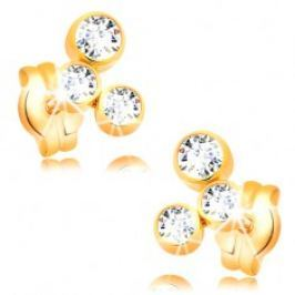 Náušnice ve žlutém 14K zlatě - oblouk ze tří blýskavých zirkonů GG16.14