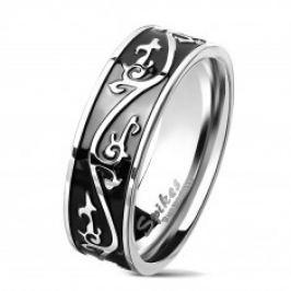 Prsten z chirurgické oceli stříbrné barvy, černý pás zdobený ornamentem, 7 mm AB05.06