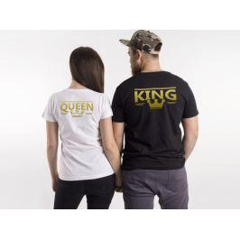 Trička se zlatým KING & QUEEN (černé nebo bílé)