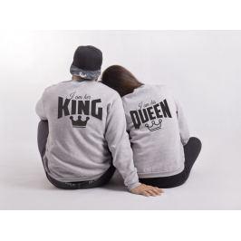 Mikiny HIS QUEEN & HER KING bez kapuce (cena za obě mikiny)