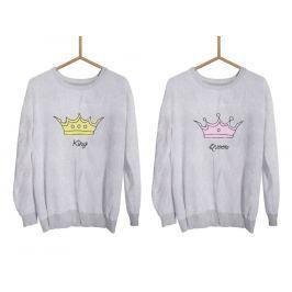 Mikiny KING & QUEEN Crown šedé bez kapuce (cena za obě mikiny)