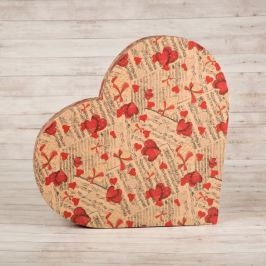 Dárková krabice Lenka, natur, vzor noty a srdce velikosti krabice Lenka: 2 - 45x40x6,2 cm