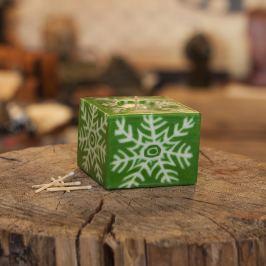 Svíčka Green Snowflake Kostka
