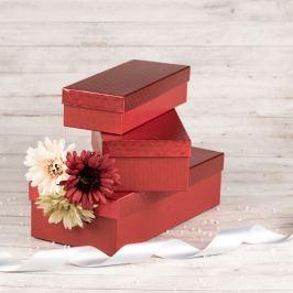 Dárková krabice Ota, červená, vzor srdíčka velikosti krabice Ota: 1 - 25x10x6 cm