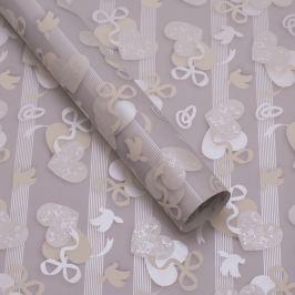 Balicí papír, svatební, stříbrno-šedý, vzor holubice a srdíčka
