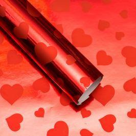 Balicí papír lesklý, červený se srdíčky