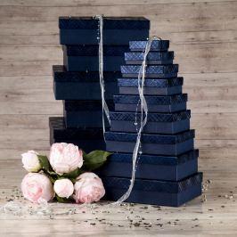 Dárková krabice Max, modrá, vzor károvaný velikosti krabice Max: 1 - 8x5,5x2,5 cm