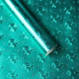 Luxusní strukturovaný balicí papír, tyrkysový, vzor ornament