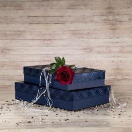 Dárková krabice Sabina, modrá, vzor károvaný velikost krabice Sabina: 2 - 36x24x7,5 cm