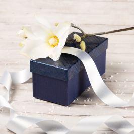 Dárková krabice Jana, modrá, vzor károvaný