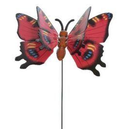 Dekorace Motýlek červená, 15 cm