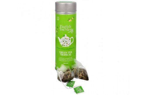 Dárek English Tea Shop Zelený čaj s infúzí tropického ovoce - plechovka s 15 bioodbouratelnými pyramidkami Dárková balení čajů