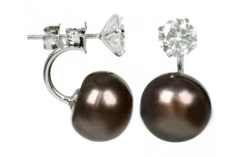 Dárek JwL Luxury Pearls Stříbrné dvojnáušnice s pravou hnědou perlou a krystalem JL0217 stříbro 925/1000 Náušnice
