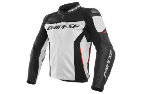 Dárek Dainese bunda RACING 3 vel.50 bílá/černá/červená, kůže Bundy na motorku