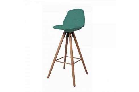 Dárek Danish Style Barová židle s dřevěnou podnoží Stephie, zelená Barové židle