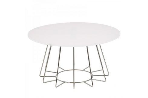 Dárek Design Scandinavia Konferenční stolek Goldy, 80 cm, chrom/bílá Konferenční stoly