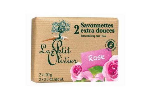 Dárek Le Petit Olivier Extra jemné mýdlo Růže 2 x 100 g Mýdla