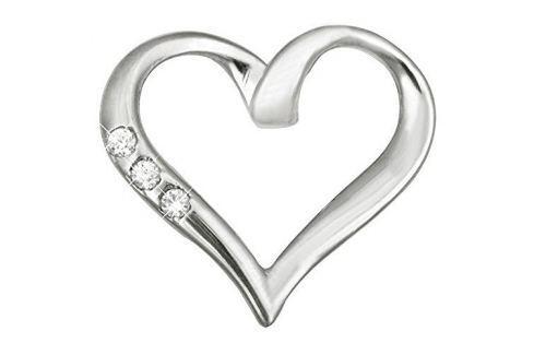 Dárek Brilio Zlatý přívěsek srdce s krystaly 249 001 00354 07 - 0,85 g zlato bílé 585/1000 Přívěsky