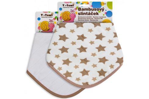 Dárek T-tomi Bambusový slintáček béžové hvězdičky + bílý, 2ks Bryndáky